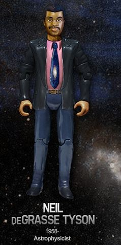 """""""Heroes of Science"""" action figures. Check out this rendering of Dr. Tyson, complete with cosmic tie! They're not real, but what a cool idea! Click photo for link and article"""