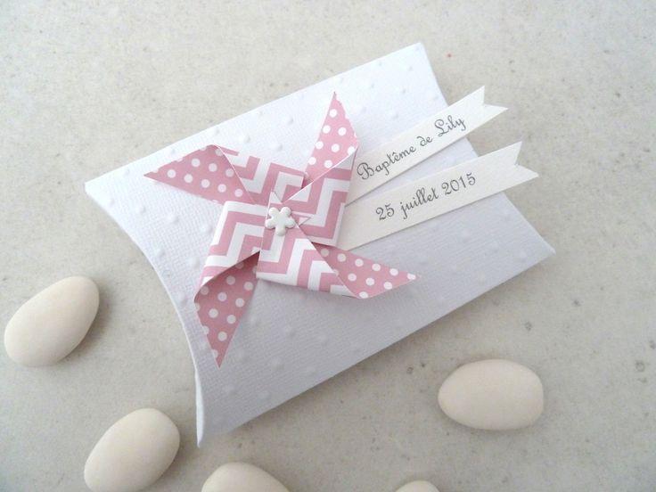 Boîte à dragées berlingot + moulin à vent pois chevron rose pastel - cadeau de remerciement pour invités anniversaire, baptême, : Cadeau de remerciement par papierelief
