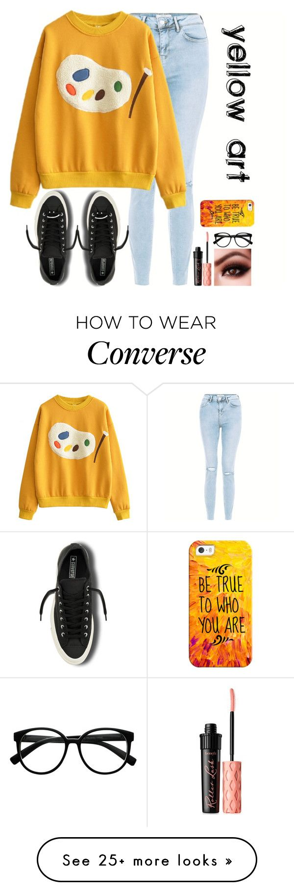 """Yellow Art"" by letta-gf on Polyvore featuring New Look, Converse, Benefit, Retrò and Casetify"