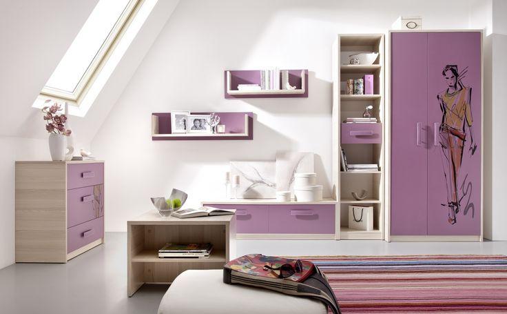 Studentský pokoj Irving 3 ve světle fialové barvě pro dívku / student room