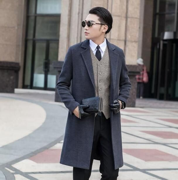 Grey long sleeve suit collar wool coat men jackets and coats mens slim wool No buttons winter trench coats outerwear S - 9XL