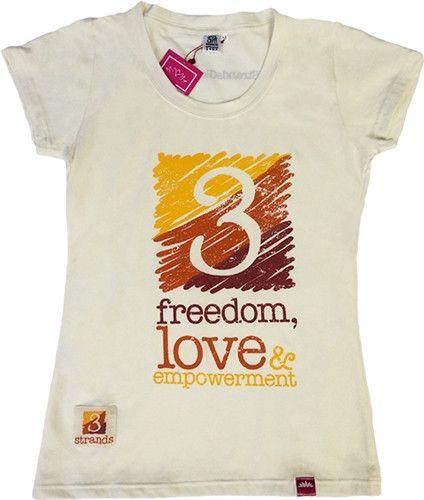 T-shirt 3 Strands Logo - Womens Cream