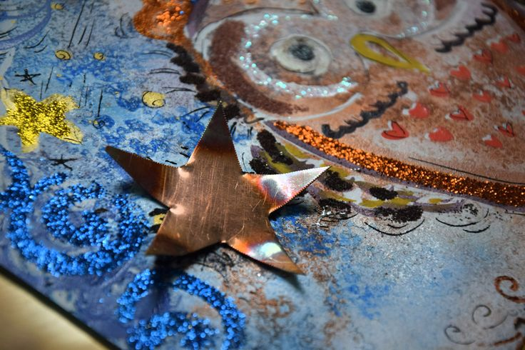 www.alicefagnocchi.it #nottedisanlorenzo #art #design #gufo #night #stars #copper #metals