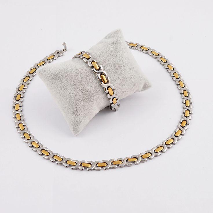 Europe Men Titanium Steel Chunky X Chain Necklace+Bracelet Women Wedding African Jewelry Set