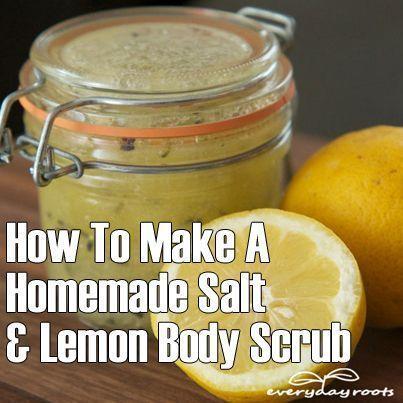 DIY Skin Care Recipes : How To Make A Homemade Salt & Lemon Body Scrub #LemonSaltScrubRecipe
