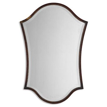 This shapely, beveled mirror features a narrow frame finished in lightly distressed bronze with burnished details. Mirror has a generous 1 1/4