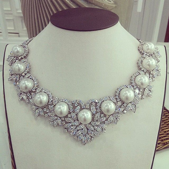 Customized pearl necklace for our client. Masterpiece made in Myanmar -pearl and diamonds The Rich Gems.