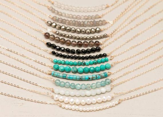 Collier de naissance, la chaîne collier délicat Gemstone / Simple or 14k remplissage ou Sterling Silver Chain / Minimal Gemstone Collier LN602