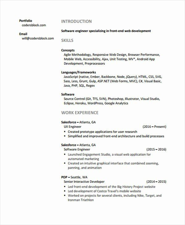 Junior Web Developer Resume New Web Developer Resumes 9 Free Word Pdf Format Download In 2020 Web Developer Resume Resume Template Professional Web Development