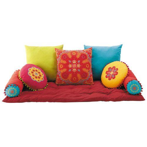 7 coussins + matelas en coton multicolore
