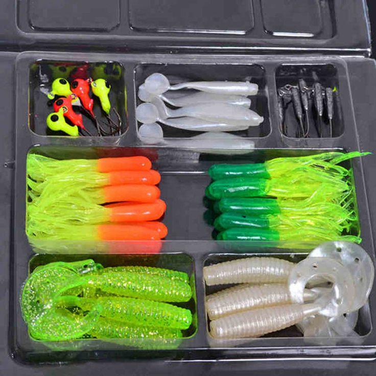 Soft Worm Lure Carp Fishing Baits Set 35Pcs+10 Lead Head Jig Hooks Simulation  #35PcsSoftChina