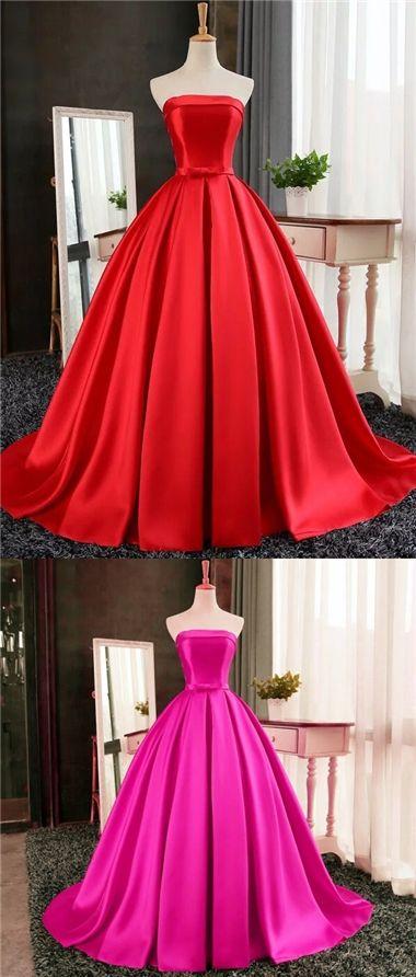 Cheap Red Prom Dress Ball Gown Sweep/Brush Train Strapless Prom Dress/Evening Dress JKS120