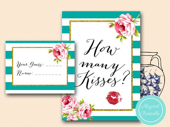 How many kisses are in the jar game Floral by MagicalPrintable