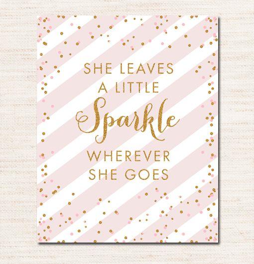 Blush Pink Gold Glitter 8×10 She Leaves a Little Sparkle ...
