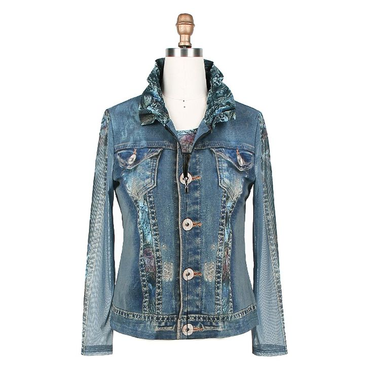 Paisley and Denim Zip Up Jacket Matching Colorful Paisley Print Shell Adjustable Wired Standing Collar Poly/Rayon Blend Wash cold or Dry Clean S-XL Imported