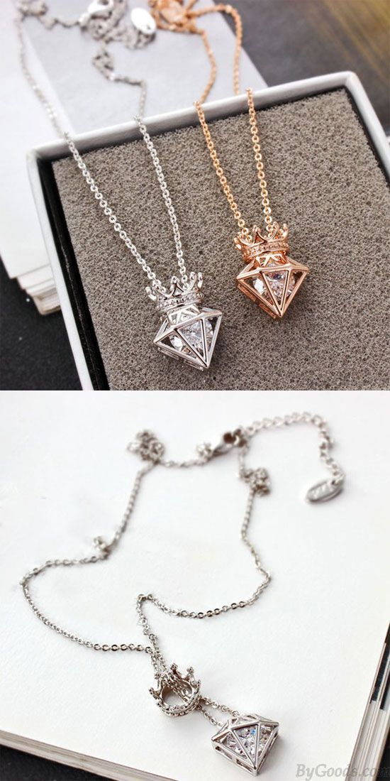 New Rose Gold Short Chain Zircon Crown Diamond Pendant Necklace is so cute! #c