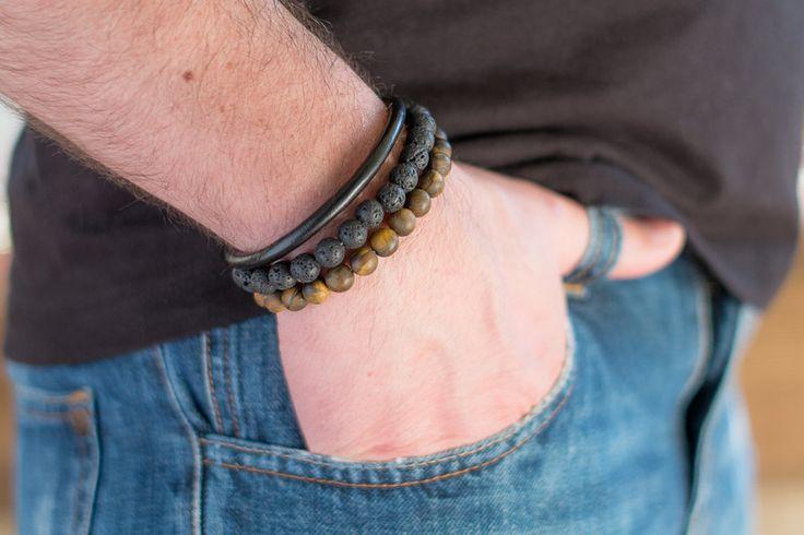 Mens Armbands – Set 3 bracelets men 03 – a unique product by Blackif on DaWanda