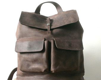 HandMade LEATHER BACKPACK  / Handcrafted leather Rucksack with two front pockets by Backpacks4Friends