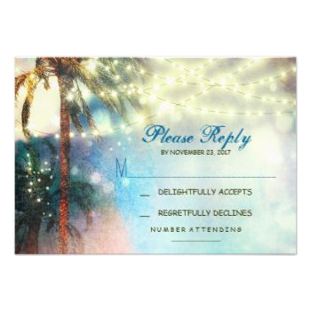 beautiful ombre blue coral beach wedding or destination wedding RSVP card with string of lights hanging on the palm trees. #beach #wedding #rsvp #seaside #wedding #wedding #rsvp #destination #wedding #rsvp #palms #rsvp #ombre #beach #wedding #rsvp #watercolors #beach #wedding #rsvp #beach #reply #beach #response #tropical #rsvp #string #lights #lights #beach #rsvp