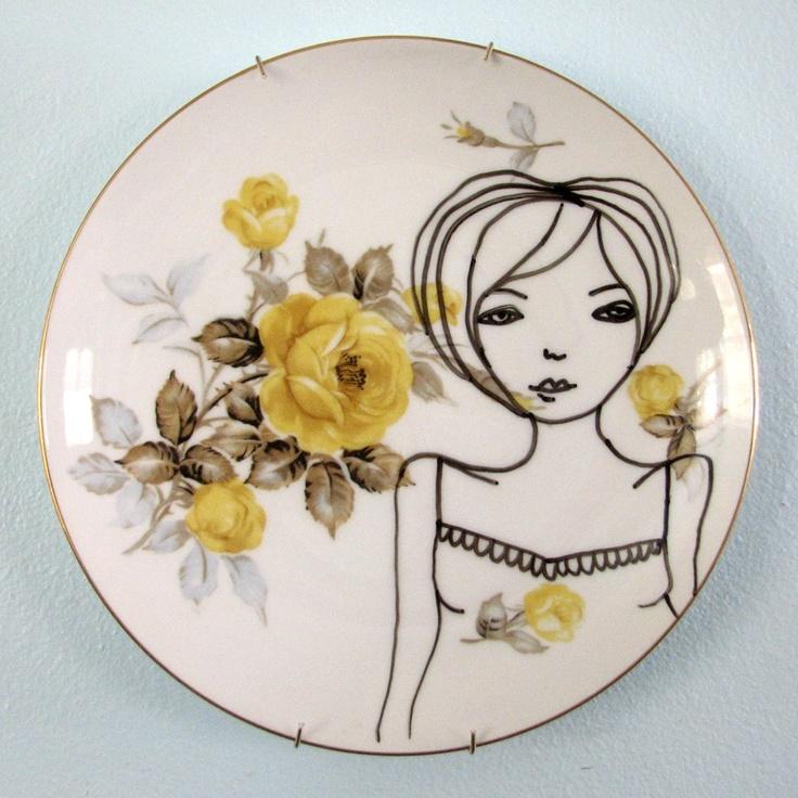 Original Illustration handpainted on vintage yellow rose china. $35.00, via Etsy.
