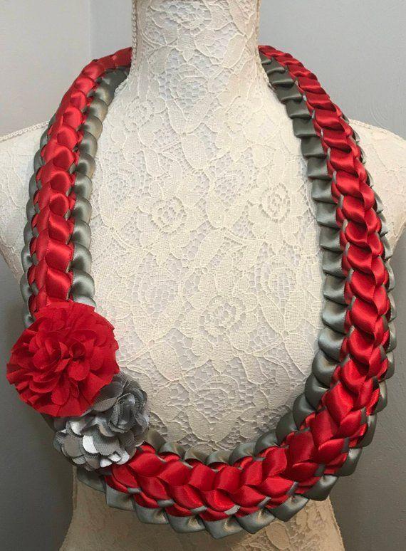 Graduation Lei Deep Gray Red Ribbon Lei Satin Ribbon Lei Hawaiian Lei Bridal Lei- Double Braided Lei