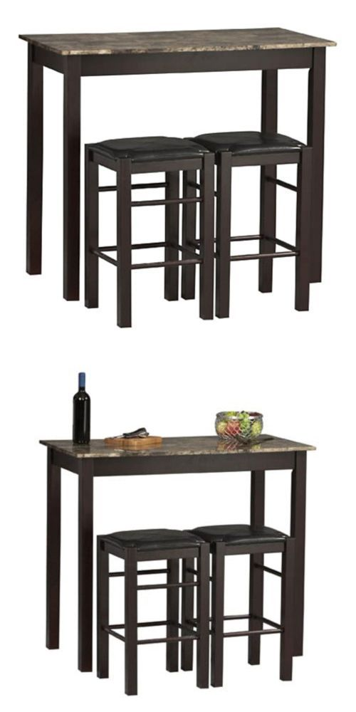 Dining Sets 107578 Espresso Wooden 3 Piece Kitchen Breakfast Set Bistro Table Stools Pub Bar It Now Only 169 98 On Ebay