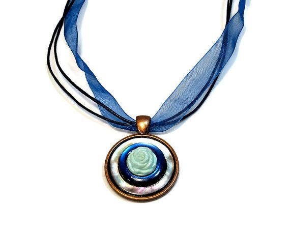 Mother of Pearl Blue Button Necklace Pendant by BluKatDesign