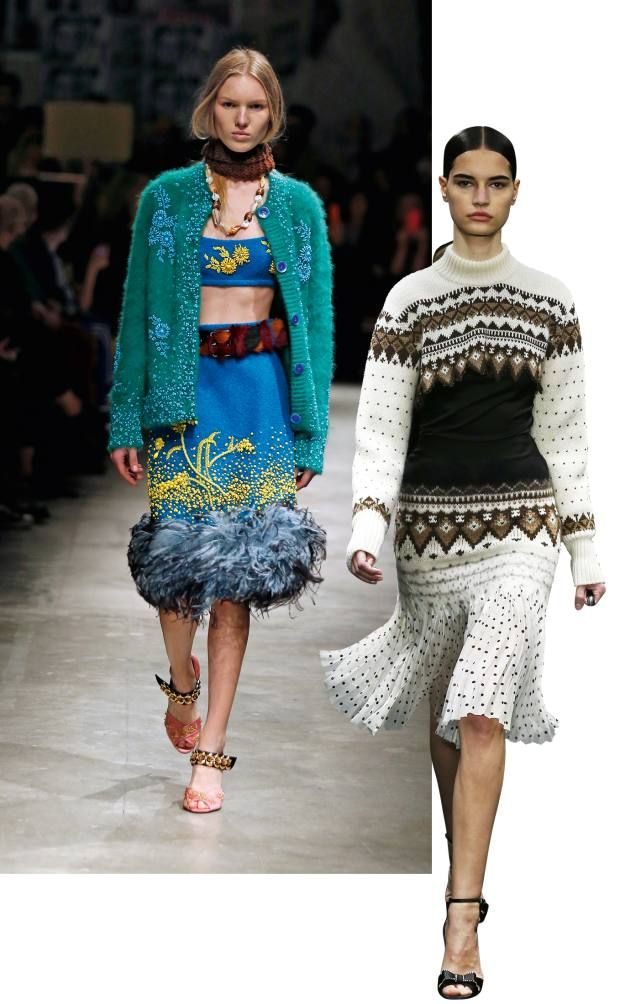 From left: Prada mohair cardigan, £2,915, wool bouclé and ostrich feather skirt, £1,890, and matching bralet, £730. Loewe wool/viscose jumper, £895