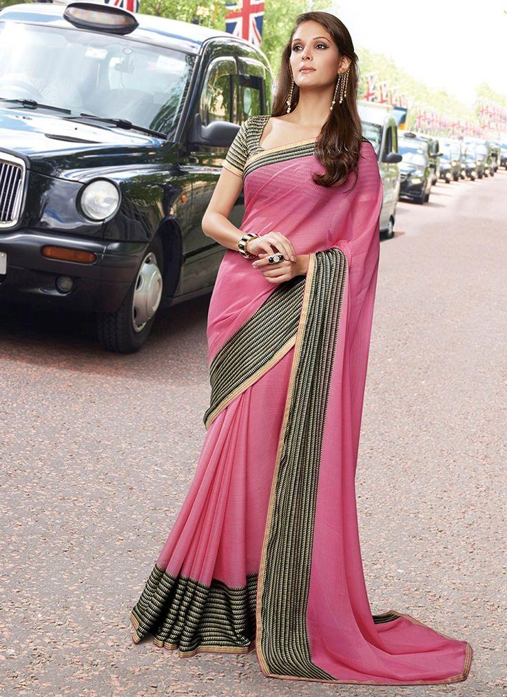 Observable Pink Satin Chiffon Saree