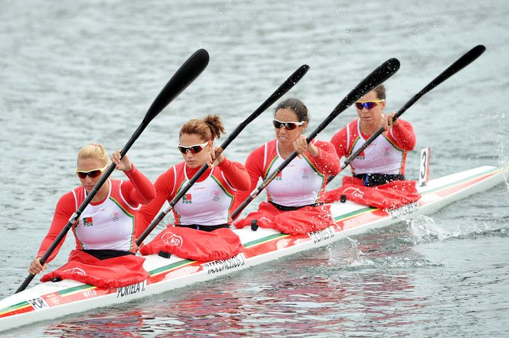 Beatriz Gomes, Helena Rodrigues, Teresa Portela and Joana Vasconcelos of Portugal compete in the Women's Kayak Four (K4) 500m Sprint final during the Canoe Sprint on Day 12 of the London 2012 Olympic Games at Eton Dorney on August 8, 2012 in Windsor, England.