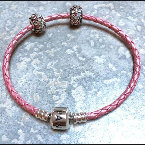 Pandora pink leather rope bracelet Pandora bracelet with 2 Swarovski Chamilia charms Pandora Jewelry Bracelets