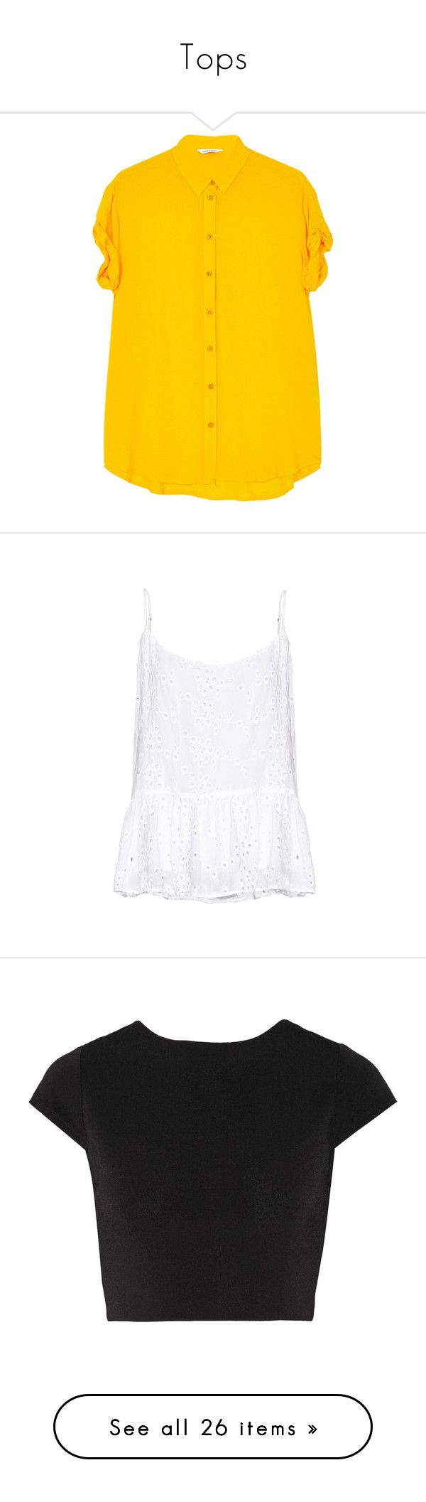 """""""Tops"""" by gina-cremont ❤ liked on Polyvore featuring tops, blouses, yellow, short sleeve tops, crepe top, short sleeve blouse, collar top, collar blouse, shirts and tank tops"""