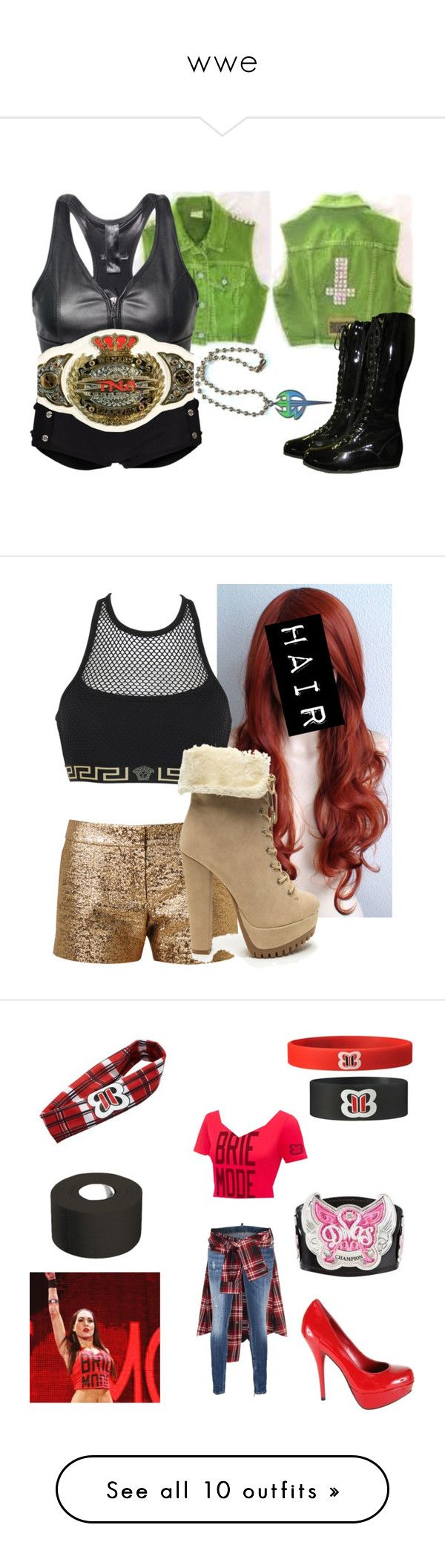 """""""wwe"""" by estefeni-argueta ❤ liked on Polyvore featuring intimates, hosiery, socks, outfits, attires, costum, tops, wrestling, costumes and diva outfit"""
