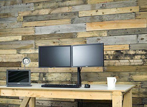 """Dual Monitor Desk Rack Stand Mount Up To 27"""" Adjustable Desktop Computer Screen  #DeskRack"""