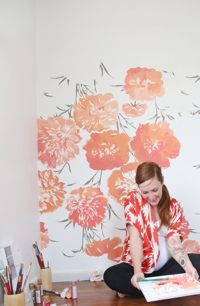 Hand-painted peonies in a baby girl's nursery ... Giant scrabble tiles ...