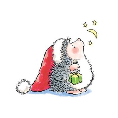 #Hedgie #Hedgehog #prickly #cuteness #christmas #santahat #present #moonandstars