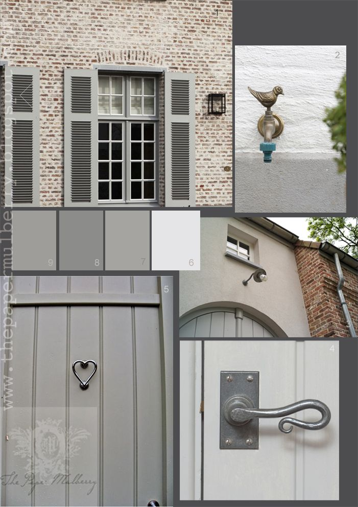 Chalky shades of grey paint - Farrow and Ball Lamp room gray, Manor House Grey, and French Grey Dark from the Little Greene Paint Company - full links and details: The Paper Mulberry: Exterior Paint Shades - Part 2