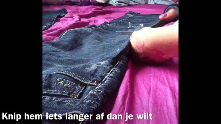 Hoe je lange jeans mooi kort kunt knippen