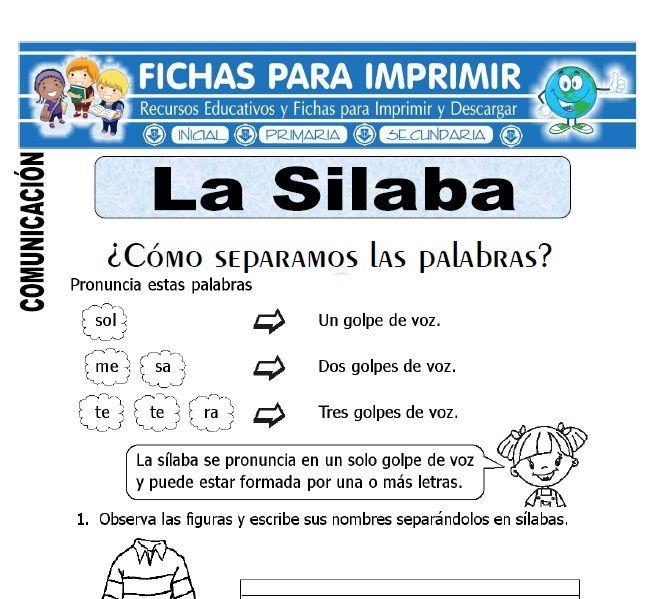 La Silaba Para Primero De Primaria Silabas Material Didactico Para Matematicas Silabas Tonicas Y Atonas