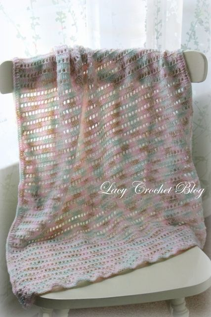Crochet Afghan Pattern Variegated Yarn : Natural Girl Simple Baby Blanket in Variegated Yarn, very ...