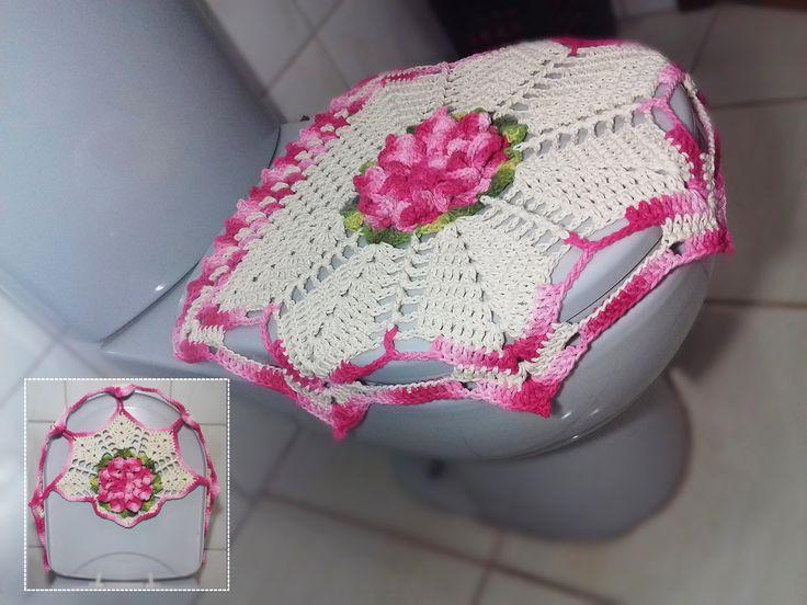 Jogo de Banheiro em crochê - Tampa do Vaso # Flor Jade
