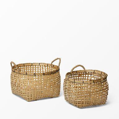 Korg i flätad bambu, 2-pack, beige