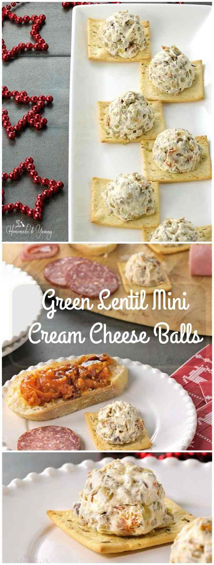 Green Lentil Mini Cream Cheese Balls are easy to make and party perfect. Add some interesting texture, taste and nutrition to your holiday appetizers. #LoveLentils #Sponsored | homemadeandyummy.com