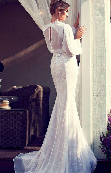 Nerit Hen свадебное платье русалка с длинными рукавами | смотреть фото цены купить