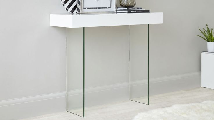 Calanna White Gloss And Glass Console Table Console