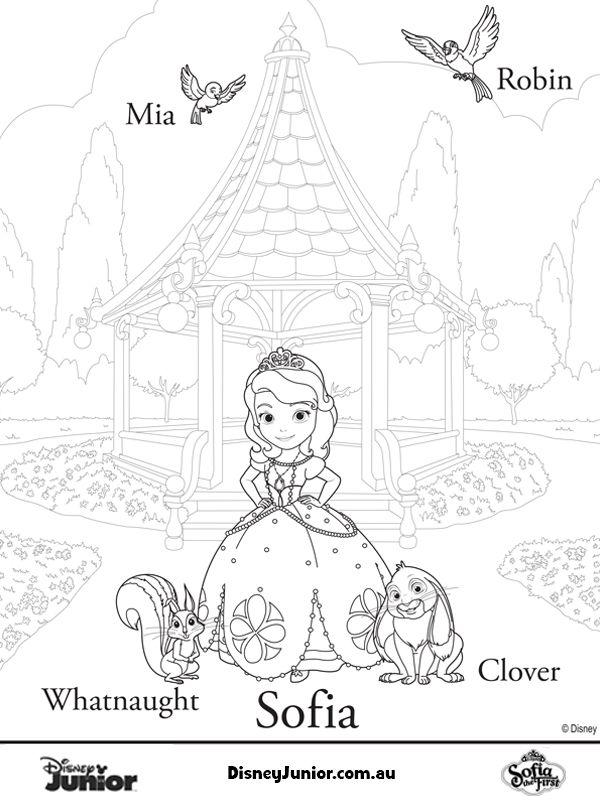 Free Online Disney Junior Sofia Colouring Page