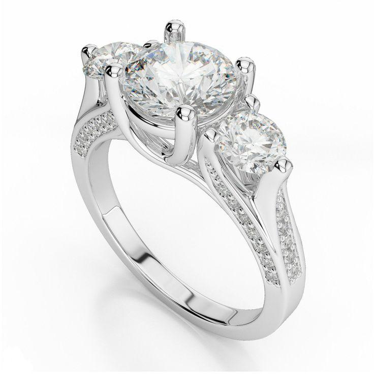 1.50 Carat Forever One Moissanite & Diamond Pave Engagement Ring, Three Stone Moissanite Wedding Rings, Raven Fine Jewelers Beverly Hills, Custom Wedding Rings for Women, Conflict Free, Charles & Colvard