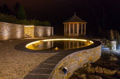 LED Strip, GU10 LED Spike Spot and LED Uplighting,  design & installation by Owen Chubb Garden Landscapes Limited, Dublin, Ireland.