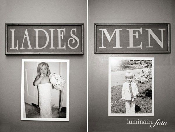 Hang childhood photos of bride and groom on the doors to the restrooms. Cute!
