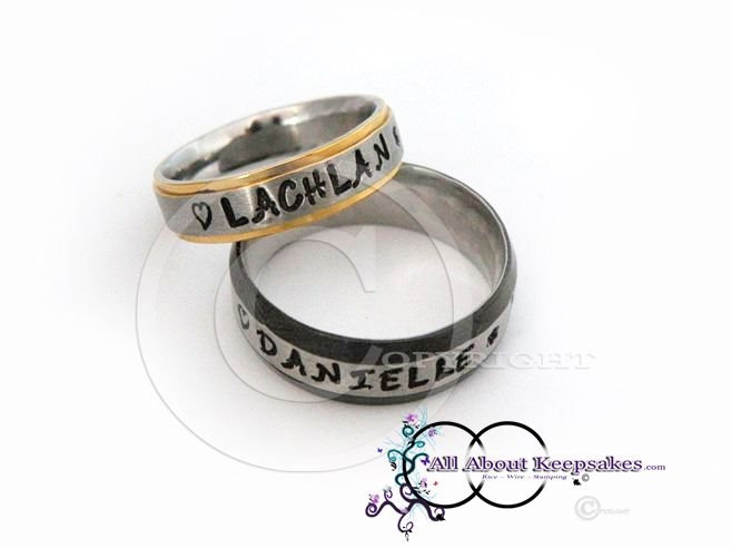 Keepsake Rings (Stainless Steel) hand stamped with family names  allaboutkeepsakes.com